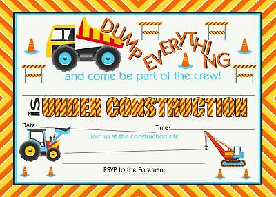Construction Party LARGE Invitations - 20 Invitations + 20 Envelopes