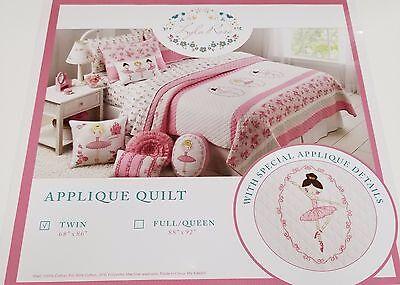 Ballerina Twin Quilt (LYLA ROSE 2PC BALLERINA BALLET TWIN QUILT SET Floral Pink White kids girl NEW )