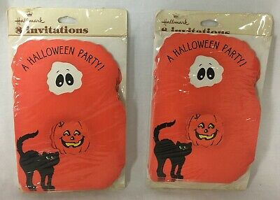 Boo Halloween Party (Vtg Lot 16 Hallmark Halloween Party Invitations 2 Pkgs BOO Black Cat Ghost)