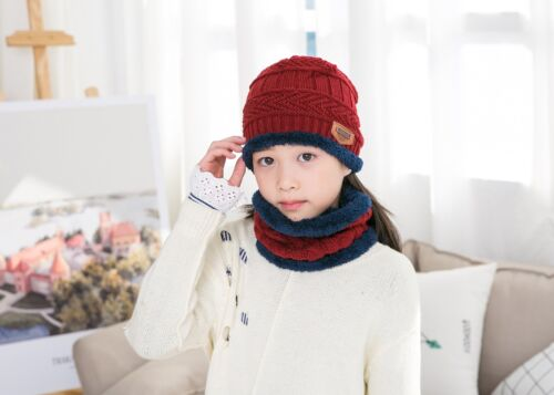 6c56cda874d Children Boy Winter Knitted Beanie Hat and Scarf Set Kids Warm Balaclava  Cap Ski