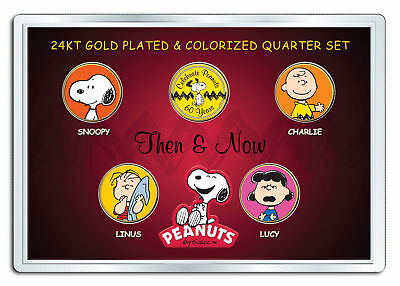 PEANUTS * Then & Now * 24K Gold Plated US State Quarter 5-Coin Set CHARLIE BROWN](Peanut Charlie Brown)