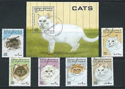 SOMALI REPUBLIC  -  SET OF CATS ON STAMPS  SOUVENIR SHEET..D 7117