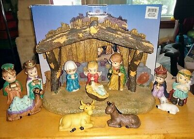 PORCELAIN CHILDREN NATIVITY SET 13pc Including 11 x 7 x 5in Stable Spiegel Store