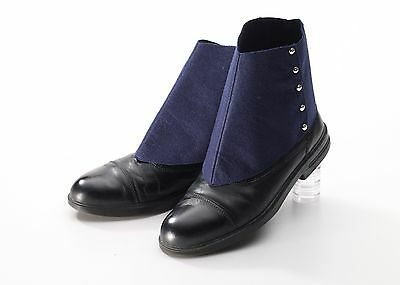 Mens Spats Shoe Covers Roaring 20s Gangster Adult Costume Spat Navy Blue Capone