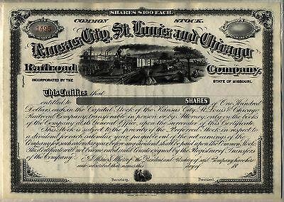 Kansas City St. Louis & Chicago Railroad Company Stock Certificate Missouri](Party City Saint Louis Missouri)