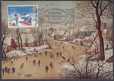 1973 Christmas 3p Maximum Card 'FDC'; Bethlehem Llandeillo SHS; scarce; D