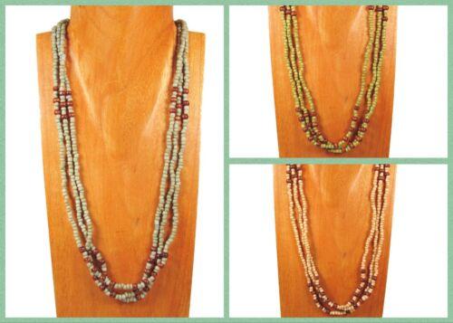 6PC Handmade Wood Beaded Multi Strand Bohemian Necklace WHOLESALE LOT 3 Colors
