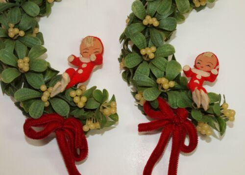 Vintage Christmas Lot of 2 Plastic MISTLETOE Garland w/ Sitting PIXIE ELVES