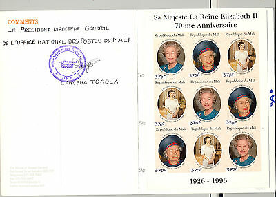 Mali 1996 Queen Elizabeth 70th Birthday M/S of 9 & S/S Imperf Chromalin Proofs