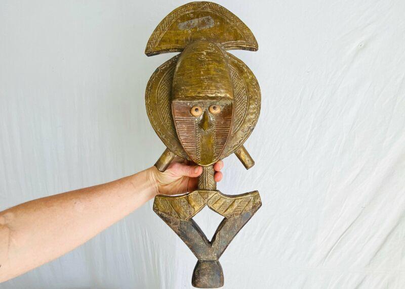 Bakota Relic. African Art. Brass & Wood Female Sculpture.