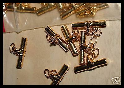 Cufflink findings with Gilt plated chain and tee bar Craft jewellery ten pair