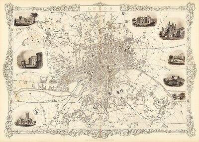 Antique Leeds England decorative map Tallis 31,5 x 23,6 inch canvas