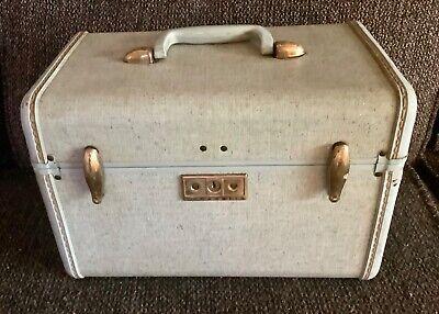 Vintage Samsonite Train Case W/KEY Robin Egg Blue Tweed suitcase luggage makeup