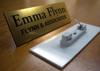 Custom Engraved 1x3 Gold Name Tag Badge W Pin Employee Id Personalized