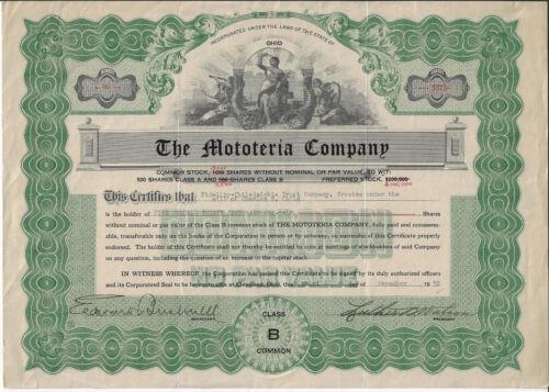 OHIO 1930,  The Mototeria Company  Stock Certificate, Mobile Meat Wagon