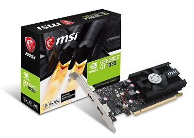MSI GeForce GT 1030 2G LP OC Graphics Card, 2GB GDDR5, Fan Heatsink, Low Profile