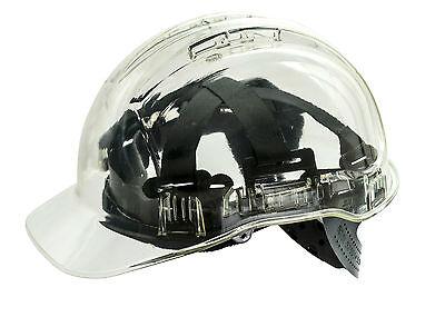 SAFETY HELMET PEAK VIEW,FULL UK SPEC.PORTWEST PV50,HARD HAT,BUILDING SITE,CLEAR