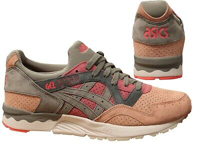 Asics Gel-Lyte V Grey Pink Leather Lace Up Casual Mens Trainers HL7K0 2996 X40A