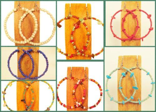 Wholesale Lot 12 PCS Handmade Beaded Single Hoop Earrings 12 COLORS