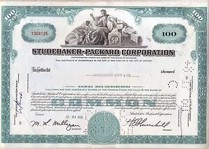 Studebaker-Packard Corporation Stock Certificate Automobile S-P Car Motor Auto