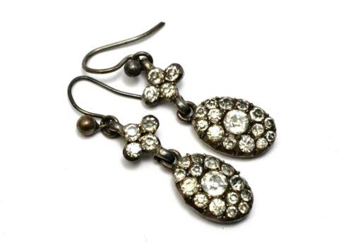 Antique Georgian silver clear paste drop earrings
