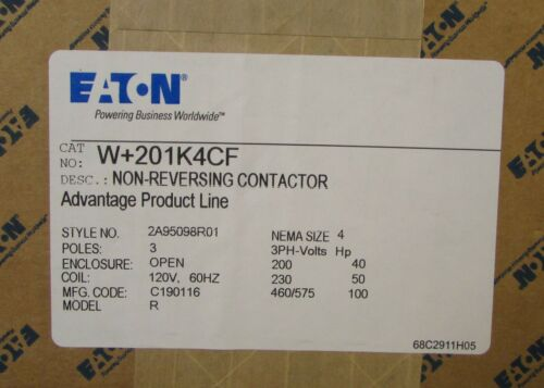 EATON CUTLER HAMMER W+201K4CF Advan W+201 W201 Size 4 Contactor W201K4CF SEALED