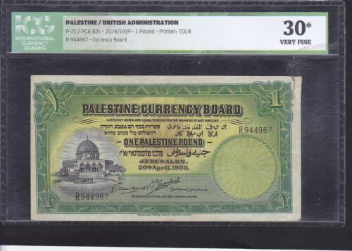 PALESTINE 1 POUND DATED 1939 P.7b IN ICG HOLDER VF 30