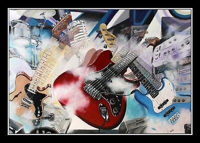 Grafik Volker Welz mit Fender Stratocaster Telecaster American Elite Jazz Bass