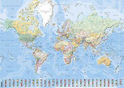 Landkarten Giant XXL Poster - Weltkarte mit Flaggen deutsch 1:30 Mio. -