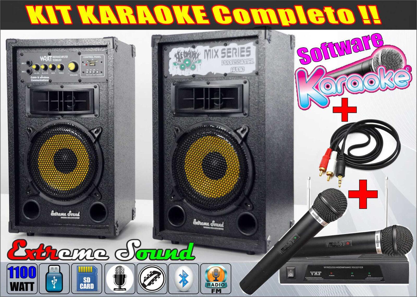 IMPIANTO 2 CASSE per KARAOKE 1100W microfoni Wireless Cavo PC software MIX-1-KIT