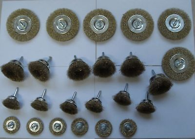 24 x Drahtbürsten Topfbürsten  für Bohrmaschine 6 mm Schaft Bürsten 4 Grössen