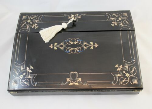 Elegant French Antique Napoleon III Writing Box, Boulle, MOP Inlays. Gift!!!