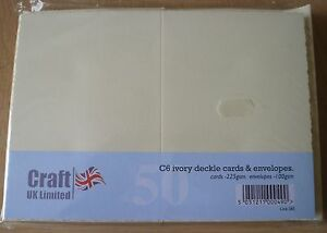Craft UK C6 Ivory Cards & Envelopes, Pack of 50, Deckle Edge, 225gsm