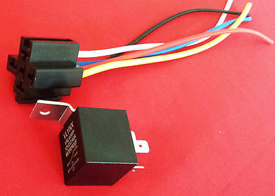 QTY5 RELAY +(5) 5 PIN SOCKET 12V DC 30/40A WATERPROOF SPDT A ... on
