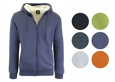 Mens Sherpa Fleece Lined Zip Up Hoodie Warm Poly Blend Winter Sweater Jacket Nwt