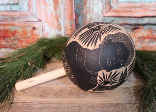 Maraca Rattle 3 Portraits Frida Kahlo Hand Carved Gourd Mexican Folk Art Oaxaca
