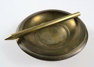 "Vintage Brass Round Ashtray - Part of Floor Standing Ashtray?, 4 1/4"" Round"