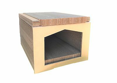 Andevan™ USA Made Corrugated Cardboard Cat House With Scratching Walls And Pads