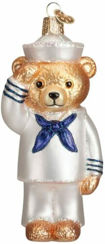 Old World Christmas NAVY BEAR (12404)N Patriotic Glass Ornament w/Owc Box