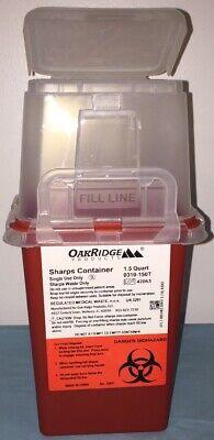 1.5 Quart Size Sharps Disposal Container Oakridge Products Biohazard