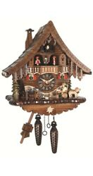 Quartz Cuckoo Clock Black Forest house with moving beer drinker.. EN 471 QMT NEW