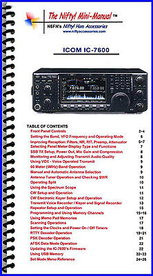 Icom IC-7600 Nifty Quick Reference Guide, IC7600 for sale  Escondido