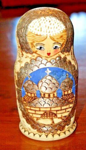 Five Nesting Russian Dolls, Matryoshka, Wood Burned Finish