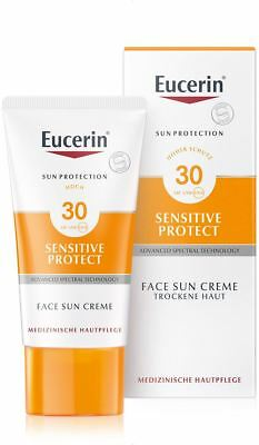 EUCERIN Sun Sensitive protect face LSF 30 Gesichtscreme 50ml PZN 00800918 +Probe