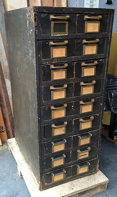 18 Drawers Wood Shop Cabinet Rare Vintage Heavy Duty Storage Tools Parts Jewelry