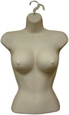 1 Female Large Breast Dress Form Mannequin Hard Plastic W Hook For Hanging