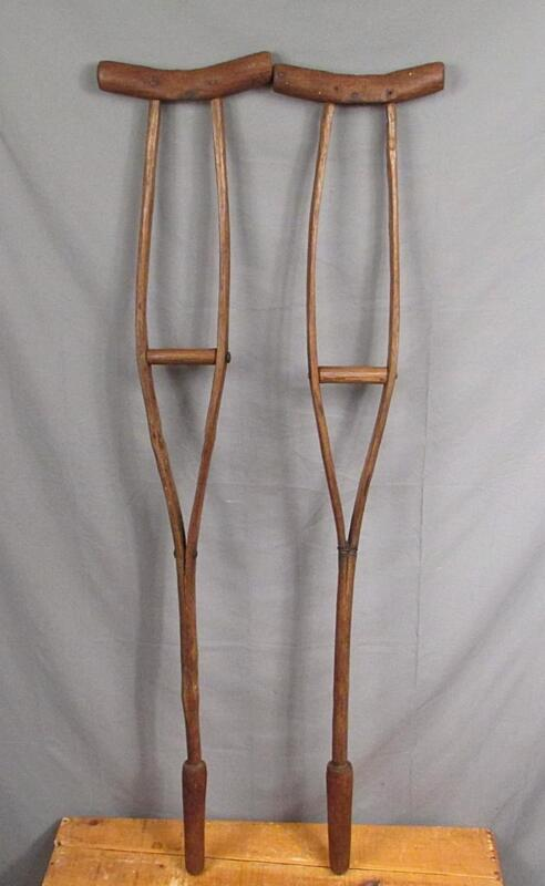 Vintage Antique Wooden Crutches Oak Civil War era Medical Primitives Victorian