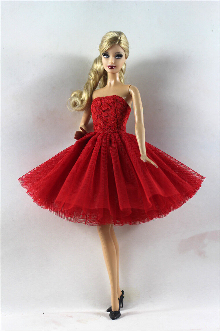 Red Lovely Fashion Dress/Clothes/Ballet Dress For Barbie Doll b11