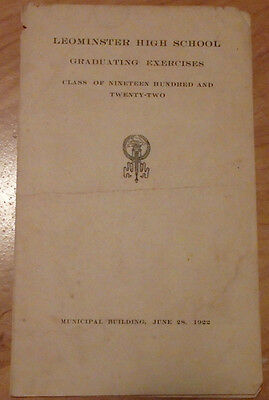 1922 LEOMINSTER MASSACHUSETTS HIGH SCHOOL GRADUATING EXERCISES PROGRAM