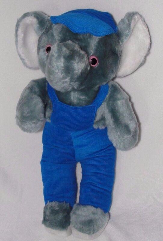 10c1be87fc53a6 Vintage plush interpur gray elephant blue corduroy overalls hat stuffed toy  JPG 542x800 Elephant rushton vintage